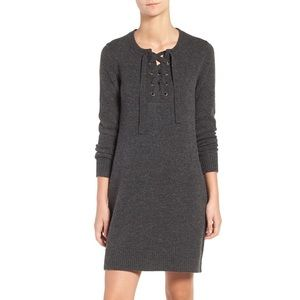 Madewell gray lace up long sleeve sweater dress M